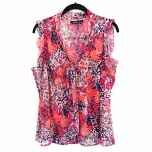 a.n.a. Ruffled Sleeveless Sheer Floral Blouse 1X